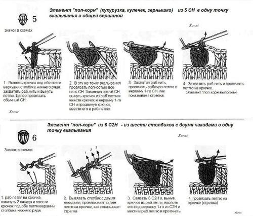 Вязание крючком элемента попкорн 22